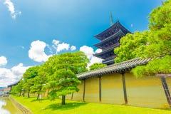 Toji 5 Story Pagoda Angled Wall Blue Sky H Royalty Free Stock Photos