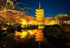 Toji tempel vid natt, Kyoto Japan Arkivbilder