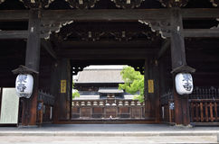 Toji-Temple's wooden gate, Kyoto Japan. Old and large wooden gate of Toji temple in Kyoto Japan Royalty Free Stock Photo