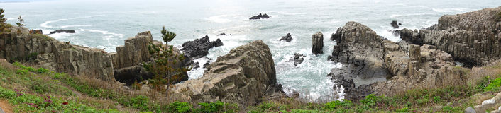 Tojinbo Cliff Panorama View Royalty Free Stock Images