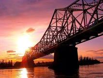 Tok River bro i Alaska Arkivbild