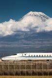 Tokaido Shinkansen with Mountain Fuji Royalty Free Stock Photos
