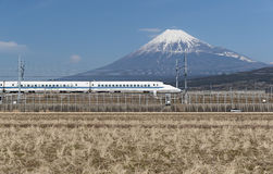 Tokaido Shinkansen with Mountain Fuji Royalty Free Stock Image