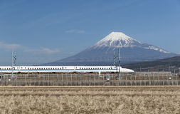 Tokaido Shinkansen with Mountain Fuji Stock Images