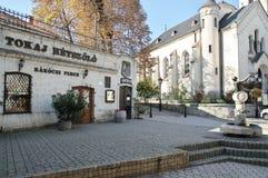 City of Tokaj, Hungary. Tokaj, Hungary - October 16, 2018: Ovar street in the center of the city. On the left You can see Rakoczi's wine cellar, on the right royalty free stock image