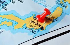 Tokao japan map. Macro shot of tokao japan map with push pin stock image