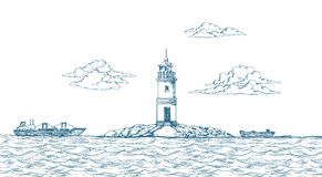 Tokarevskiy lighthouse in Vladivostok. Stock Photos