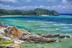 Tokashiki island. Rock cliffs at Tokashiki island next to Okinawa Stock Images