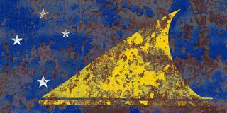 Tokelau grunge flag, New Zaeland dependent territory flag.  Royalty Free Stock Image
