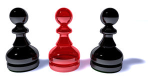 Tokens. Three tokens, one in red and two in black Stock Photography