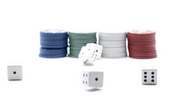 Tokens dice casino Royalty Free Stock Photo