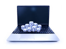 Tokens on keyboard of notebook Royalty Free Stock Photos