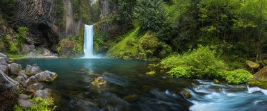 Toketee Falls is a waterfall in Douglas County, Oregon, United States, on the North Umpqua River. stock images