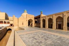 Toki Sarrofon indoor market and channel near it at sunny day, Bukhara, Uzbekistan. Royalty Free Stock Photo