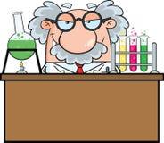 Tokig forskare Or Professor In laboratoriumet royaltyfri illustrationer