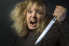 Tokig psykotisk kvinna Arkivfoto