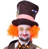 Tokiga olika ansikts- sinnesrörelser för hattmakare` s Närbildstående av smi Royaltyfria Bilder
