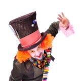 Tokiga olika ansikts- sinnesrörelser för hattmakare` s Närbildstående av smi Royaltyfri Fotografi
