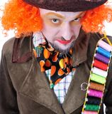 Tokiga olika ansikts- sinnesrörelser för hattmakare` s Närbildstående av smi Royaltyfri Foto