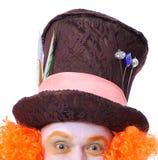 Tokiga olika ansikts- sinnesrörelser för hattmakare` s Närbildstående av smi Fotografering för Bildbyråer