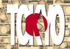 Tokio con el dinero en circulación japonés Fotografía de archivo