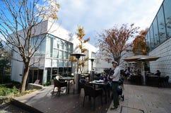 TOKIO - 28 DE NOVIEMBRE DE 2013: Pueblo japonés de la cafetería de la visita en el distrito de Daikanyama Fotografía de archivo libre de regalías
