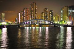 Tokio en la noche - puente del bashi de Eitai Fotos de archivo libres de regalías