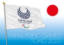 TOKIO, JAPÓN - agosto de 2020, preparación para los juegos 2020 de Paralympics, logotipo, bandera y símbolo Fotografía de archivo libre de regalías