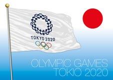 TOKIO, JAPÓN - agosto de 2020, preparación para los Juegos Olímpicos 2020, logotipo, bandera y símbolo Imagen de archivo