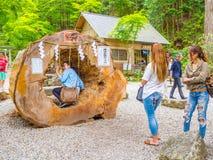Tokio, Japón - 24 de agosto de 2017: La gente no identificada que juega en un tronco grande, en Gion Matsuri es el ` s de Japón m foto de archivo libre de regalías