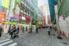 TOKIO, JAPÓN - 28 DE ENERO DE 2017: Distrito de Akihabara en Tokio Tiendas y gente del Local Estación de Akihabara Fotos de archivo