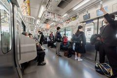 TOKIO, JAPÓN - 25 DE ENERO DE 2017: Metro de Tokio con la gente Imagen de archivo