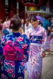 TOKIO, JAPÓN 28 DE JUNIO - 2017: Mujer no identificada que toma una imagen de su amigo en el templo budista Sensoji en Tokio Fotos de archivo