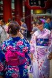 TOKIO, JAPÓN 28 DE JUNIO - 2017: Mujer no identificada que toma una imagen de su amigo en el templo budista Sensoji en Tokio Imágenes de archivo libres de regalías