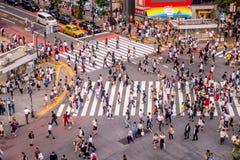 TOKIO, JAPÓN 28 DE JUNIO - 2017: Opinión superior la muchedumbre de gente que cruza en la calle de Shibuya, uno de los pasos de p Fotografía de archivo libre de regalías