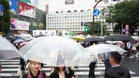 Tokio, Japón - 20 de junio de 2018: Point of View de la gente en la travesía de Shibuya almacen de metraje de vídeo