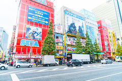 TOKIO, JAPÓN - 26 de noviembre de 2015: Pasos apretados del tráfico de la gente Fotos de archivo