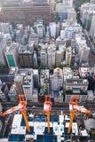 TOKIO, JAPÓN - 20 de noviembre de 2016, tres grúas que trabajan en el co Imagen de archivo libre de regalías