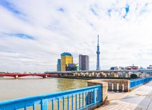 TOKIO, JAPÓN - 31 DE OCTUBRE DE 2017: Una vista del ` del edificio de la torre de Asahi y de la torre de la TV el árbol divino de fotografía de archivo