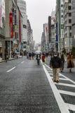 Tokio, Japón, 04/08/2017 La gente camina a lo largo de la calle peatonal Ginza fotografía de archivo
