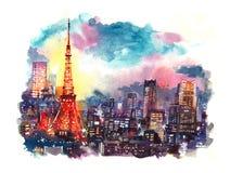 Tokio, Japón septiembre de 2016: Torre de Tokio de la señal de Japón en el ejemplo crepuscular de la acuarela libre illustration