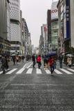 Tokio, Jap?n, 04/08/2017: La gente camina a lo largo de la calle peatonal de Ginza foto de archivo libre de regalías