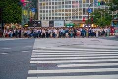 TOKIO, JAPONIA CZERWIEC 28, 2017 -: Niezidentyfikowani ludzie czeka zielone światło dla krzyżować Shibuya ulicę w Tokio, Japonia Zdjęcia Royalty Free