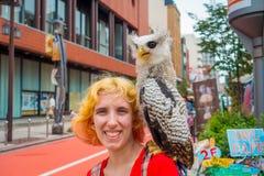 TOKIO, JAPONIA CZERWIEC 28, 2017 -: Portret uśmiechnięta kobieta z piękną sową pozuje nad ramieniem w ulicie wewnątrz Zdjęcia Stock