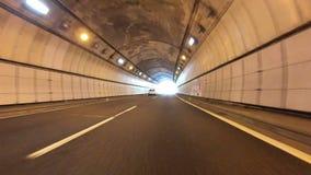 Tokio Japonia, Czerwiec, - 22, 2018: POV od działającego pojazdu na samochodowym jeżdżeniu przez tunelu przy Japonia zbiory wideo