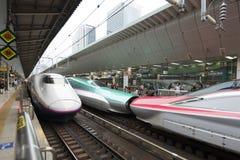 Tokio Japonia, Październik, - 3, 2016: Shinkansens na platformach przy Tokio stacją Obrazy Stock