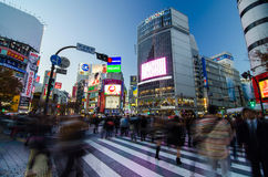 TOKIO, LISTOPAD - 28: Pedestrians przy słynnym skrzyżowaniem Shibuy Zdjęcie Royalty Free
