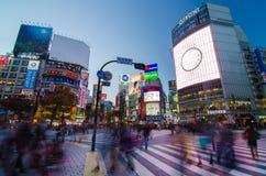 TOKIO, LISTOPAD - 28: Pedestrians przy słynnym skrzyżowaniem Shibuy Zdjęcia Stock