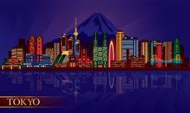 Tokio miasta nocy linia horyzontu Ilustracja Wektor