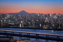 Tokio miasta widok z górą Fuji Fotografia Royalty Free